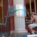 Cleaning and repairing front columns