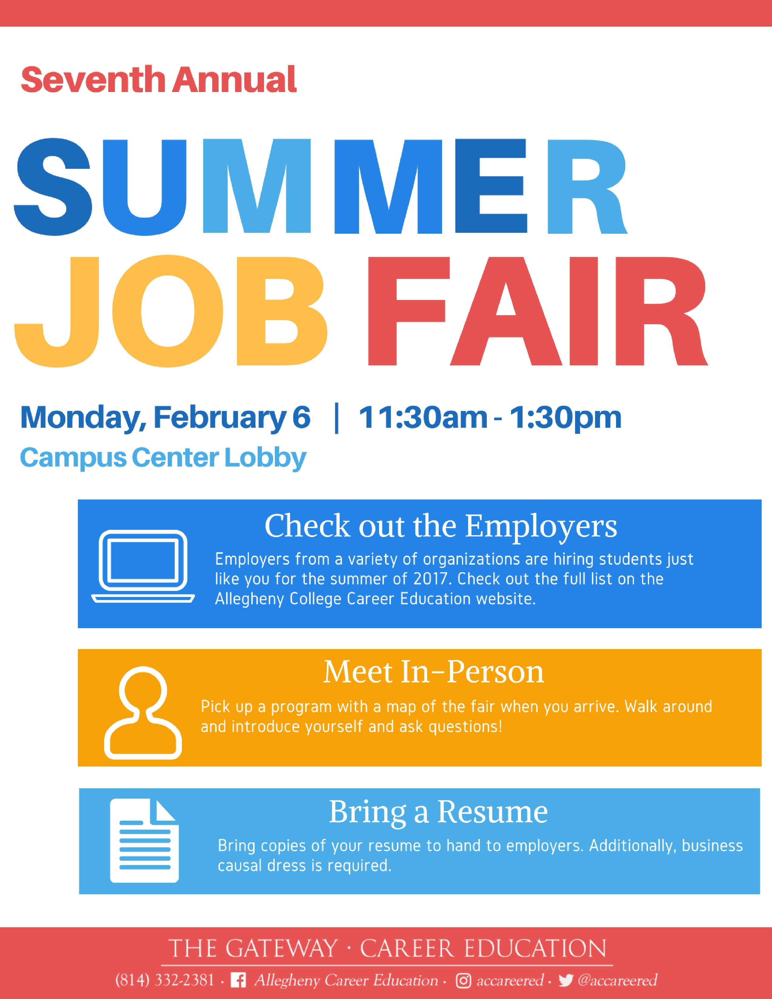 summer job fairs career education allegheny college summer job fair