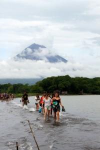 Sand bridge on Lake Nicaragua