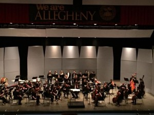 The Allegheny College Civic Symphony Performing on Saturday, April 30, 2016 in Schaffer Auditorium.