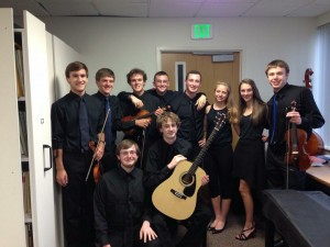 The graduating members of the Queensbury High School Orchestra before our final performance together.