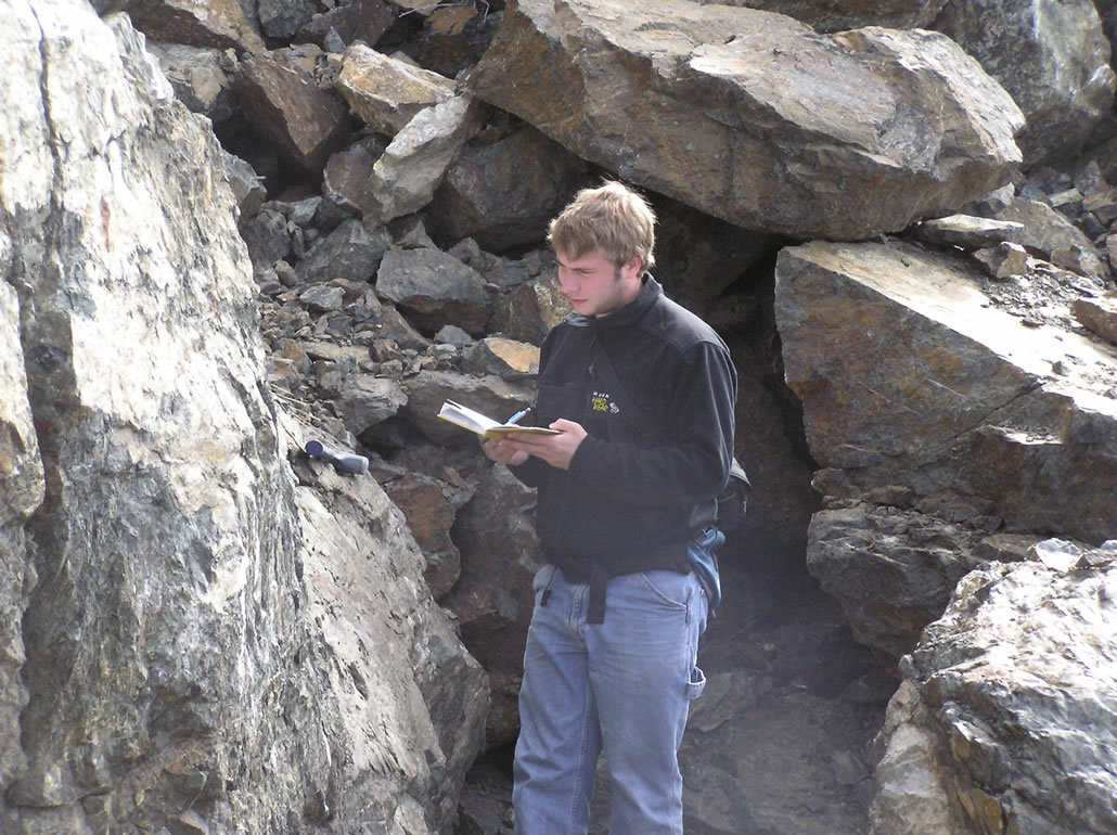 Taking notes on the north side of Beluga Point outcrop