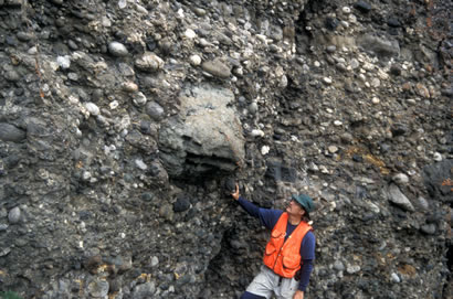 Bob checking out mega conglomerate clasts in the southern Talkeetna Mountains