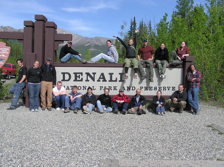 Denali National Park - Allegheny group from Alaska travel seminar 2005 posing at park entrance