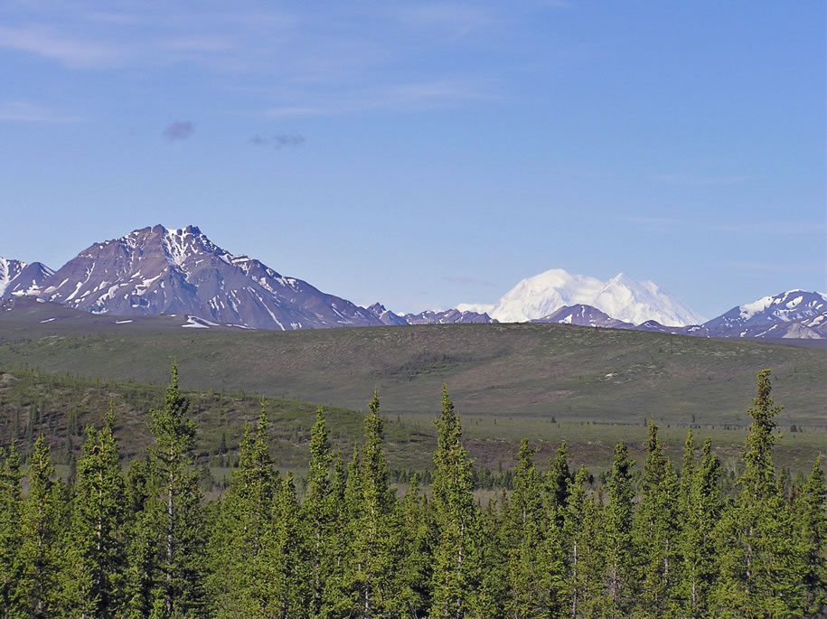 Denali National Park, Double Mountain in foreground and Denali in background