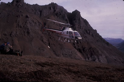 Helicopter drop off in the Alaska Range