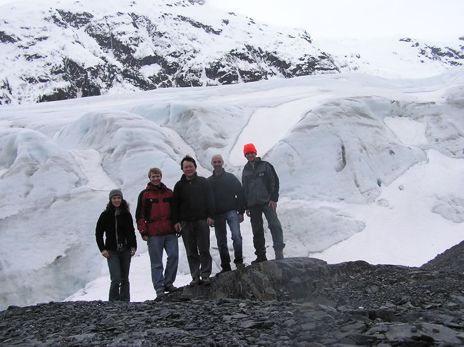 Jenny, Nick, Sun Lin, Ron, and Danny at Exit Glacier, May 2006
