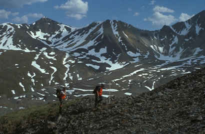 Julie and Andy on a traverse in northern Talkeetna Mountains