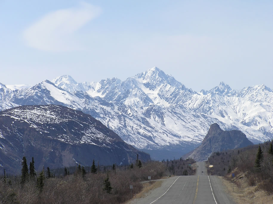 Matanuska Valley, Glenn Highway and Lions Head (a rhyolite intrusion)