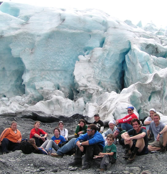 Allegheny students from Alaska travel seminar, in front of Exit glacier, 2003