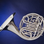 French Horn Silver Isolated On Blue
