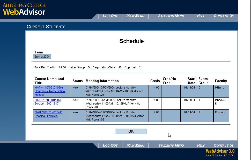 my college schedule