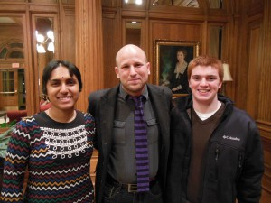 Greg Epstein with Allegheny students Anu Venkatram and Jimmy Nero
