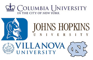 Click to expand photo of Columbia University logo, John Hopkins University logo, Villanova University Logo