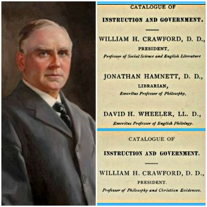 William H. Crawford was the 10th president of Allegheny College (1893-1920). He was an English Literature professor for the 1893-1894 school year (top left; Allegheny College Catalog 1893-1894), but dropped the title the next year (bottom right; Allegheny College Catalog 1893-1894).