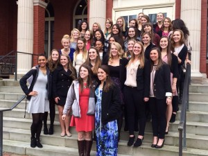 Members of Kappa Kappa Gamma-Gamma Rho Chapter, pose for a group picture outside of Tippie Alumni Center at Allegheny College after their Special Person Brunch.