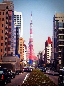 A view of Tokyo Tower from the middle of the street. (My school's entrance is on this street.)