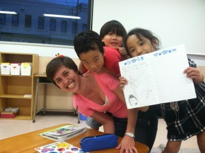 Haru and Taka decided to jump on top of sensei for the 2nd picture! Kanon is holding up her practice homework.
