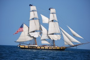U.S. Brig Niagara under sail on Lake Erie.