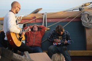 Evening jam session while underway. We also had a flute, violin, accordion, and a banjo on board.