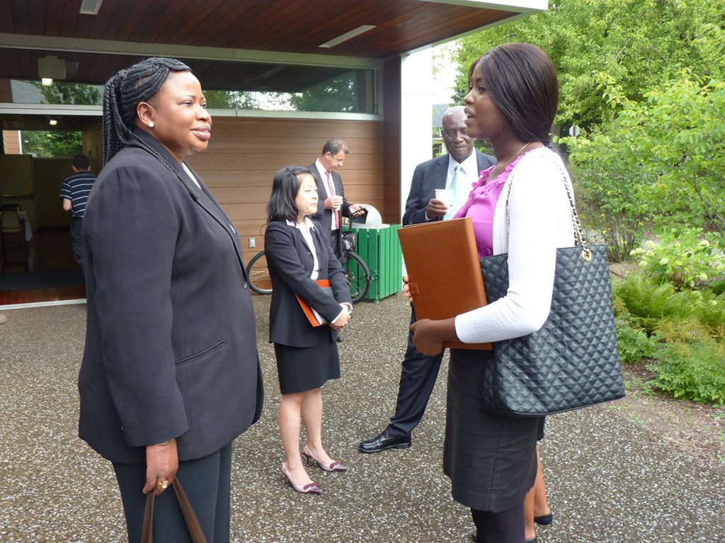 Allegheny CPP Fellow Aurora Arop (right) meeting with Fatou Bensouda (left), the Chief Prosecutor of the International Criminal Court in the Hague.