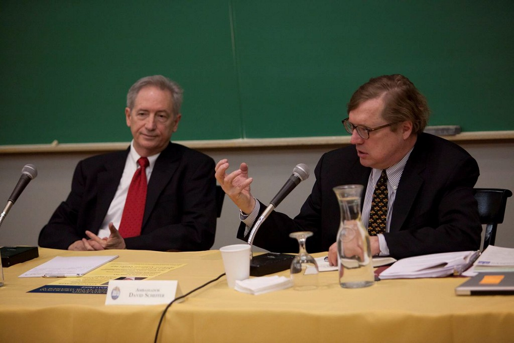 Prof. Duane Windsor (Rice University) with President Clinton's Ambassador for War Crimes, Davis Scheffer of Northwestern University (right). The two panelists discussed multinational corporations and human rights as part of a mini-conference hosted by Allegheny College.
