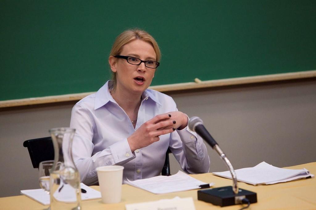 Caroline Kaeb, of Northwestern Law School, speaking on the Alien Tort Claims Act and the Kiobel case.
