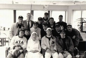 Delta Tau Delta Fraternity at a fundraiser walk to Parma, Ohio for the benefit of the Holy Family Home, 1994