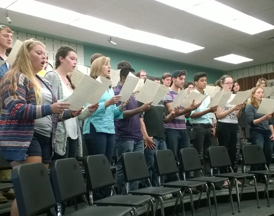"The College Choir rehearses ""Wisdom Exalteth her Children."""